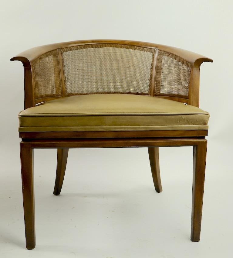 20th Century John Widdicomb Caned Back Lounge Chair For Sale