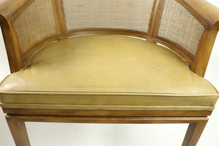 Leather John Widdicomb Caned Back Lounge Chair For Sale
