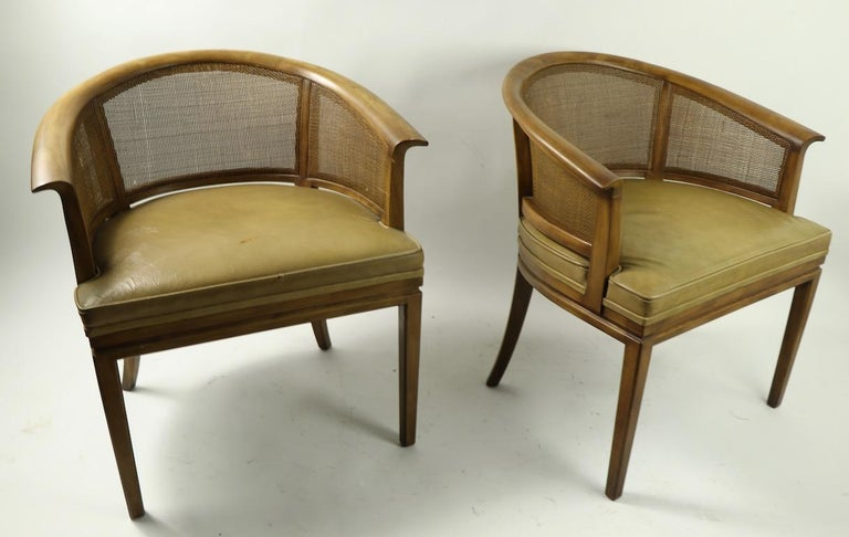 John Widdicomb Caned Back Lounge Chair For Sale 1