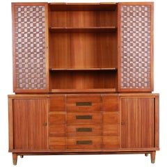 John Widdicomb Cherry Sideboard Credenza with Woven Leather and Brass Hutch