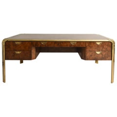 John Widdicomb for Mastercraft Burled Wood Desk with Brass Hardware
