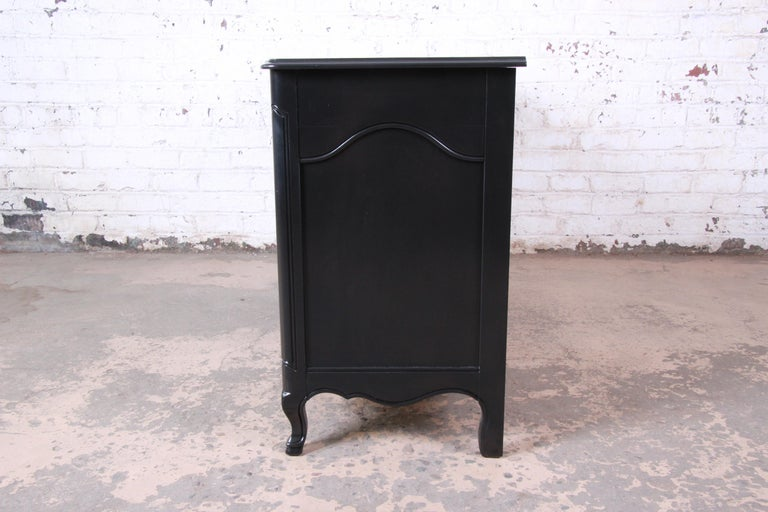John Widdicomb French Provincial Louis XV Ebonized Dresser, Newly Refinished For Sale 5
