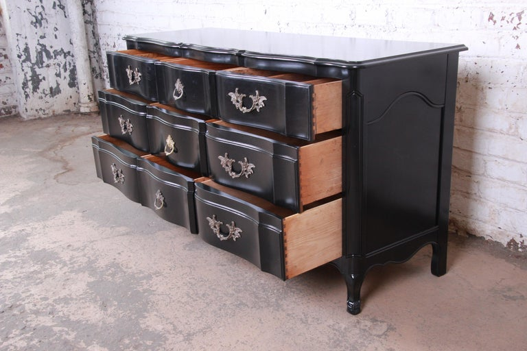 Mid-20th Century John Widdicomb French Provincial Louis XV Ebonized Dresser, Newly Refinished For Sale