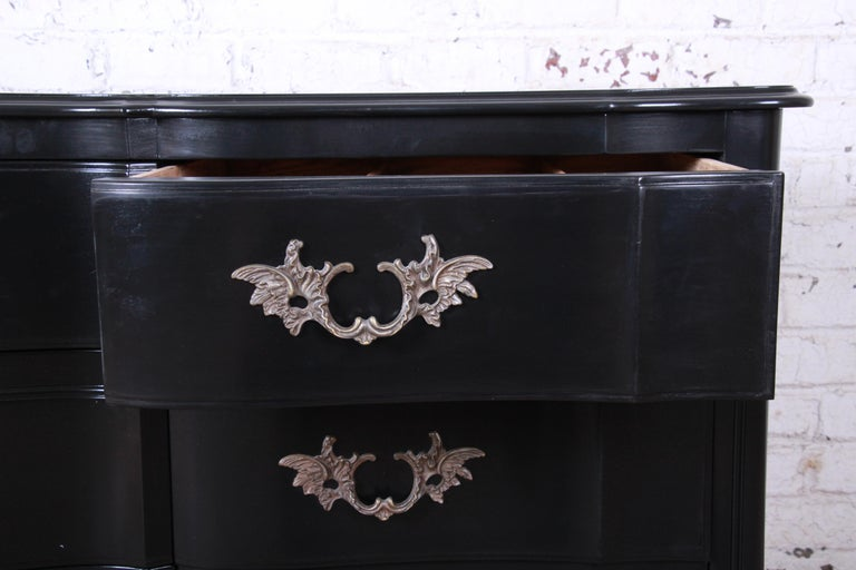 John Widdicomb French Provincial Louis XV Ebonized Dresser, Newly Refinished For Sale 2