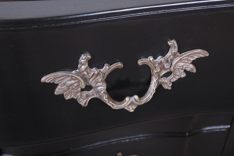 John Widdicomb French Provincial Louis XV Ebonized Dresser, Newly Refinished For Sale 3