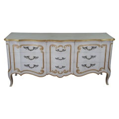 John Widdicomb French Provincial Serpentine Triple Dresser Italian Florentine