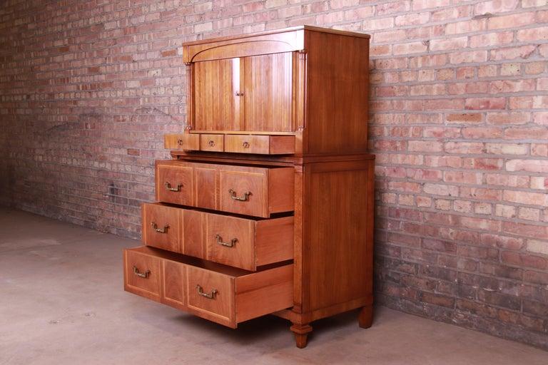 Brass John Widdicomb French Regency Cherry and Burl Tambour Door Gentleman's Chest For Sale