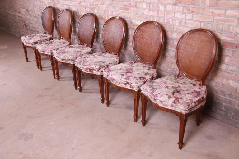 American John Widdicomb French Regency Walnut and Cane Dining Chairs, Set of Six For Sale