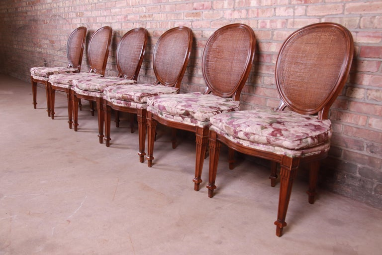 John Widdicomb French Regency Walnut and Cane Dining Chairs, Set of Six In Good Condition For Sale In South Bend, IN