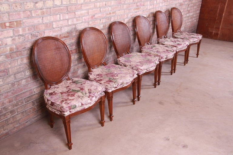Late 20th Century John Widdicomb French Regency Walnut and Cane Dining Chairs, Set of Six For Sale