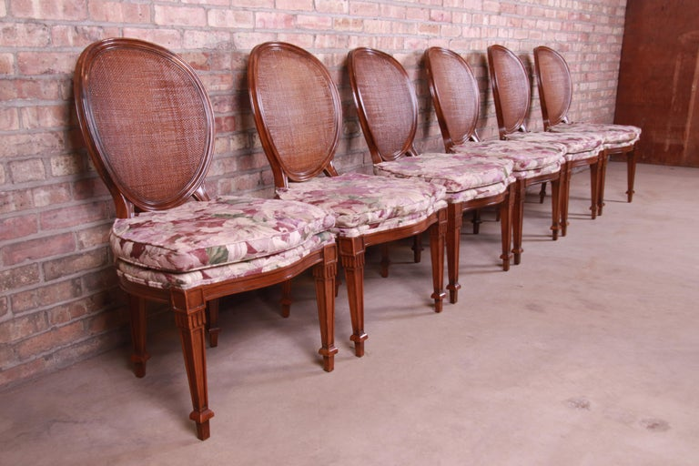 Upholstery John Widdicomb French Regency Walnut and Cane Dining Chairs, Set of Six For Sale