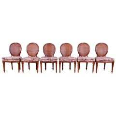 John Widdicomb French Regency Walnut and Cane Dining Chairs, Set of Six