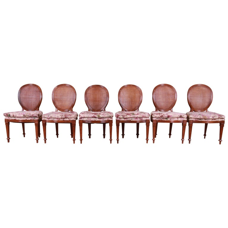 John Widdicomb French Regency Walnut and Cane Dining Chairs, Set of Six For Sale