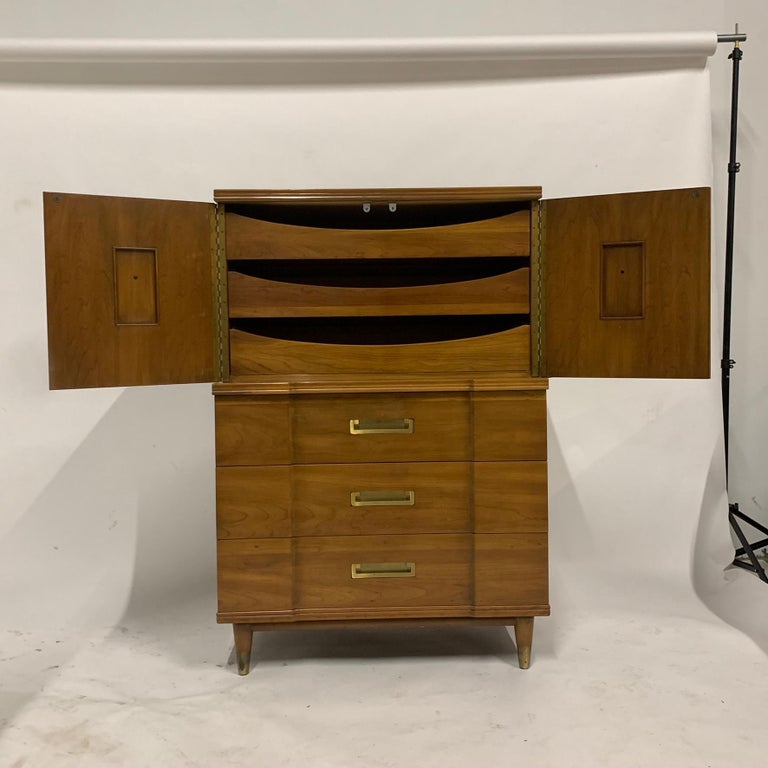 Stunningly elegant gentleman's chest made by John Widdicomb. Solid wood with solid brass pulls.