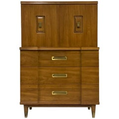 John Widdicomb Gentleman's Chest, Dresser w. Cabinet Solid Wood w Brass Hardware
