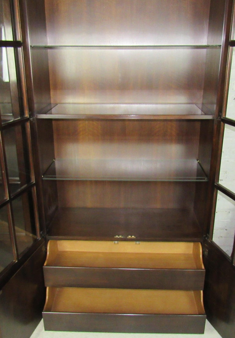 Mahogany John Widdicomb Glass Front Units For Sale
