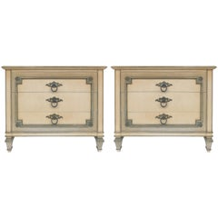 John Widdicomb Hand Painted Night Tables with Drawers, Pair