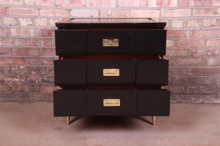 John Widdicomb Hollywood Regency Black Lacquered Bedside Chest, Newly Refinished For Sale 3