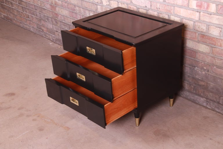 John Widdicomb Hollywood Regency Black Lacquered Bedside Chest, Newly Refinished For Sale 4
