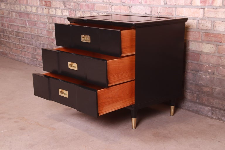 John Widdicomb Hollywood Regency Black Lacquered Bedside Chest, Newly Refinished For Sale 5