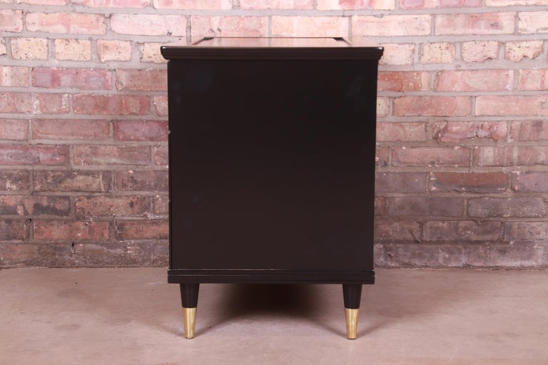 John Widdicomb Hollywood Regency Black Lacquered Bedside Chest, Newly Refinished For Sale 8