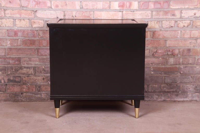 John Widdicomb Hollywood Regency Black Lacquered Bedside Chest, Newly Refinished For Sale 10
