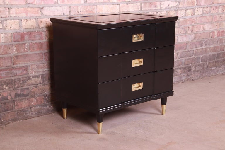 Mid-20th Century John Widdicomb Hollywood Regency Black Lacquered Bedside Chest, Newly Refinished For Sale