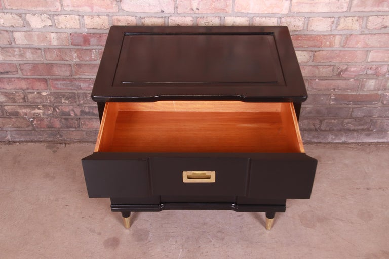 Brass John Widdicomb Hollywood Regency Black Lacquered Bedside Chest, Newly Refinished For Sale