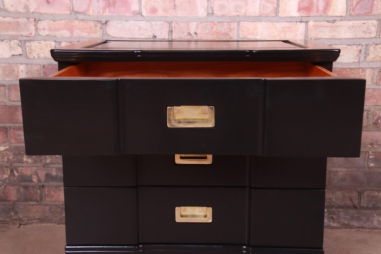 John Widdicomb Hollywood Regency Black Lacquered Bedside Chest, Newly Refinished For Sale 1