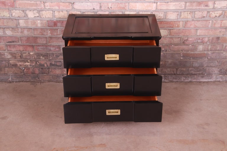 John Widdicomb Hollywood Regency Black Lacquered Bedside Chest, Newly Refinished For Sale 2