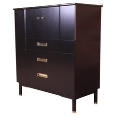 John Widdicomb Hollywood Regency Black Lacquered Gentleman's Chest, Refinished