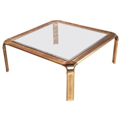 John Widdicomb Hollywood Regency Brass and Glass Cocktail Table, circa 1970s