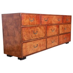 John Widdicomb Hollywood Regency Campaign Burl Wood Long Dresser or Credenza