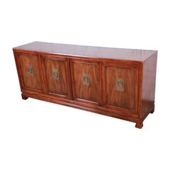 John Widdicomb Hollywood Regency Chinoiserie Walnut Sideboard Credenza, 1960s