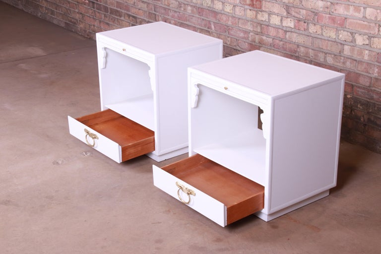 Brass John Widdicomb Hollywood Regency Chinoiserie White Lacquered Nightstands, Pair For Sale
