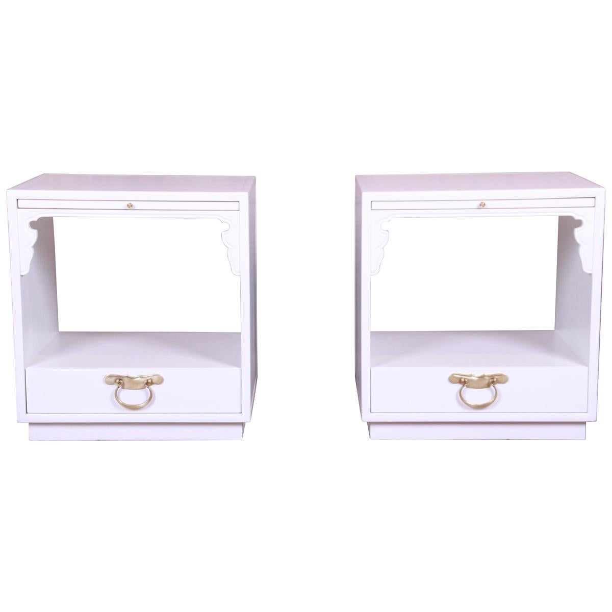 John Widdicomb Hollywood Regency Chinoiserie White Lacquered Nightstands, Pair