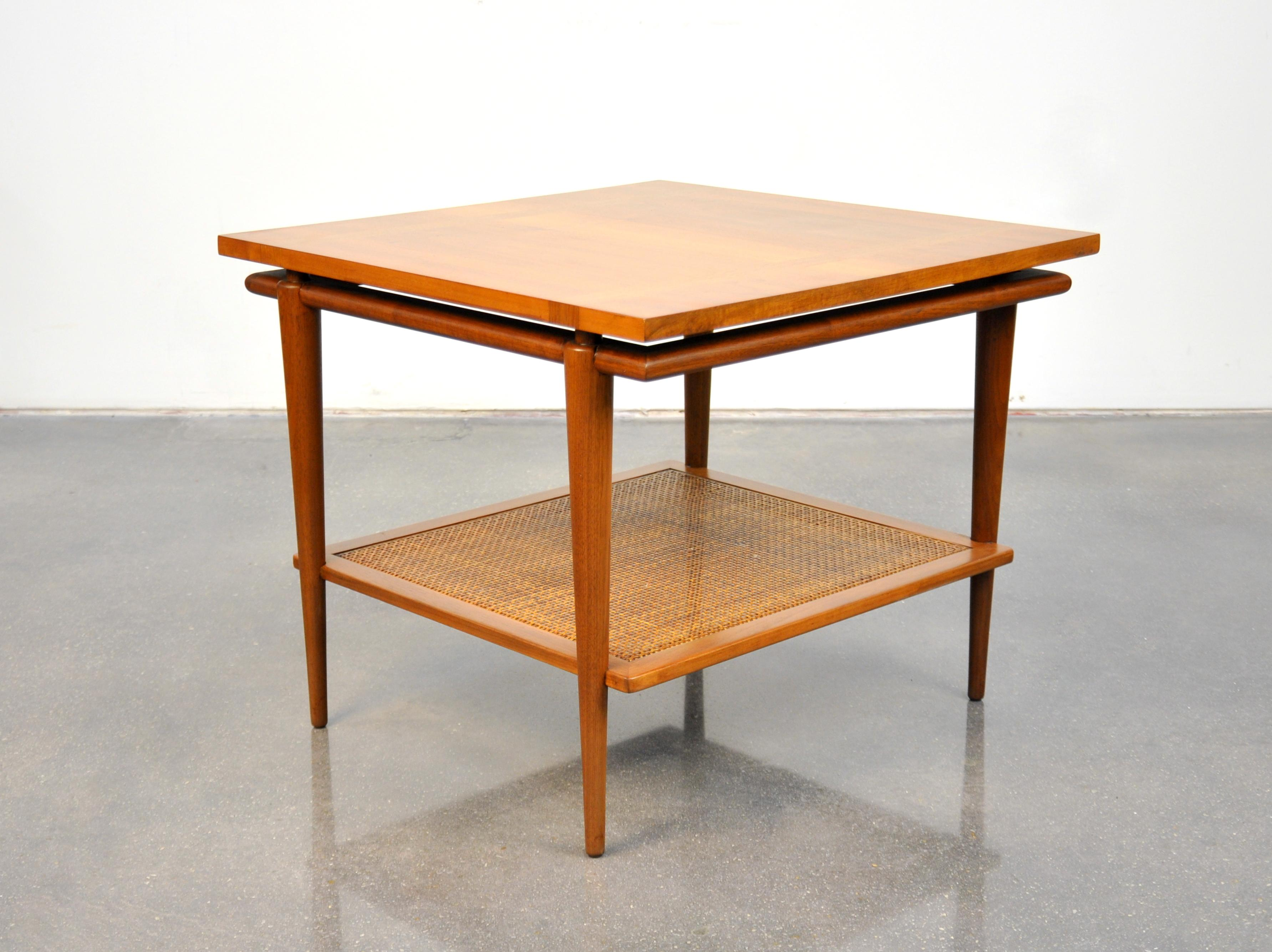 Widdicomb Walnut, Marble And Cane Coffee And Side Table Set For Sale 9