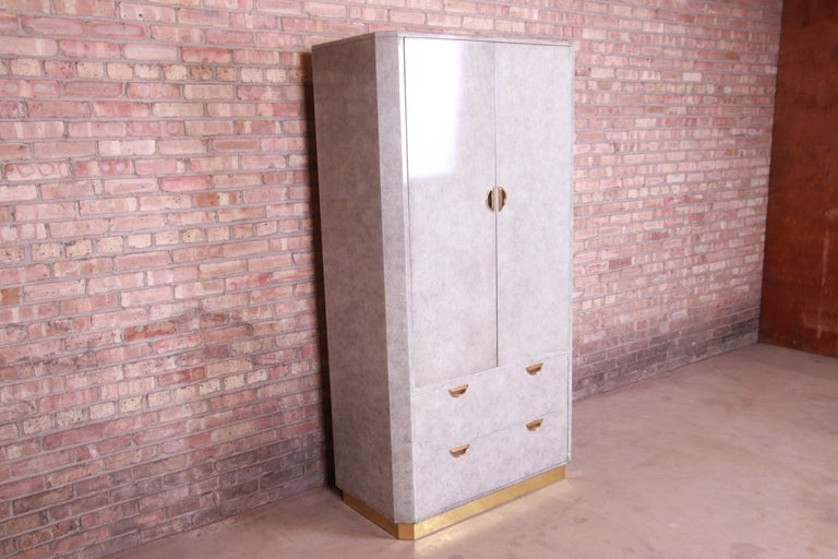 John Widdicomb Midcentury Hollywood Regency Armoire Dresser, circa 1970s In Good Condition For Sale In South Bend, IN