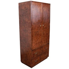 John Widdicomb Mid-Century Hollywood Regency Campaign Burl Wood Armoire Dresser