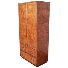 John Widdicomb Midcentury Hollywood Regency Campaign Burl Wood Armoire Dresser