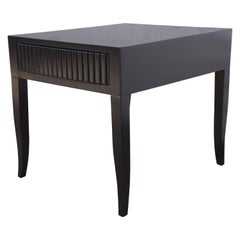 John Widdicomb Mid-Century Modern Black Lacquered Nightstand or Side Table