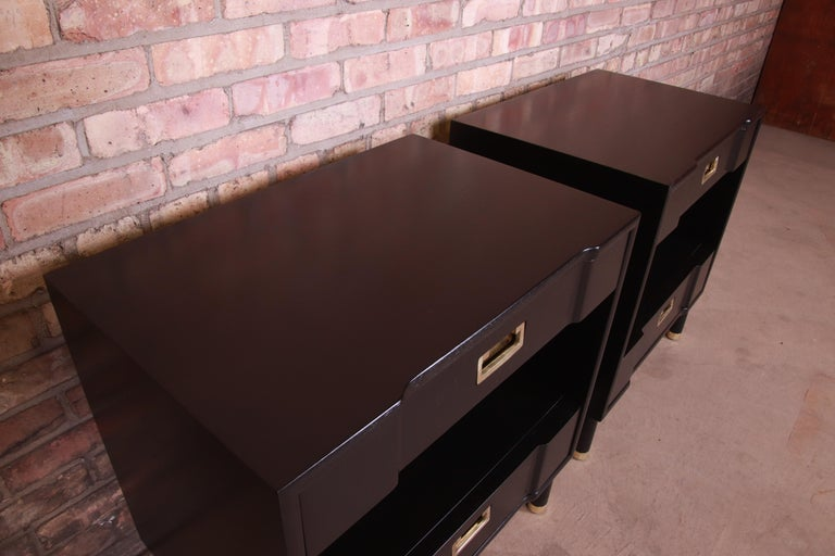 John Widdicomb Mid-Century Modern Black Lacquered Nightstands, Newly Refinished 4