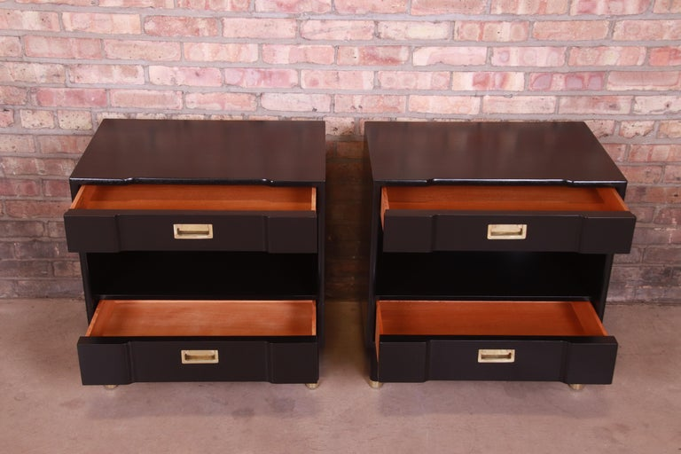 John Widdicomb Mid-Century Modern Black Lacquered Nightstands, Newly Refinished 5