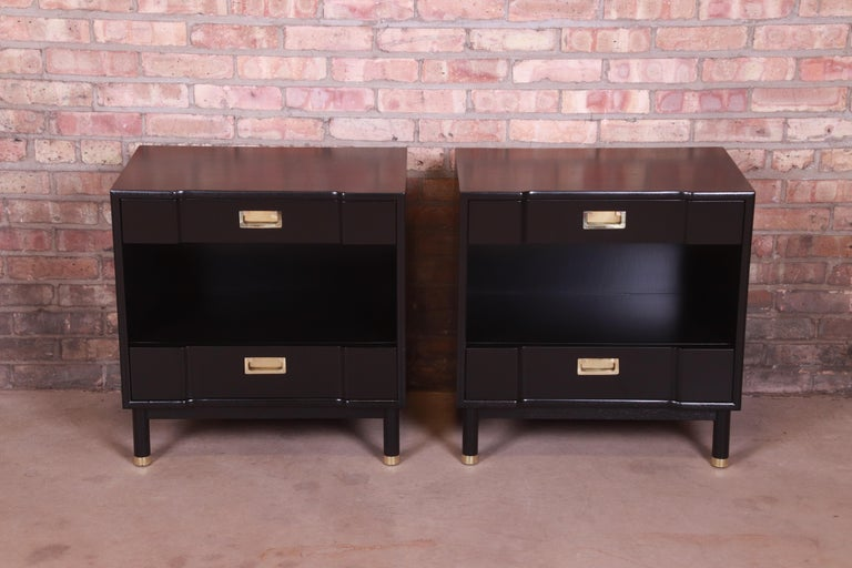 American John Widdicomb Mid-Century Modern Black Lacquered Nightstands, Newly Refinished