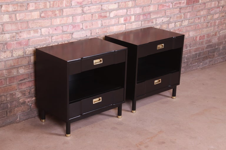 Mid-20th Century John Widdicomb Mid-Century Modern Black Lacquered Nightstands, Newly Refinished