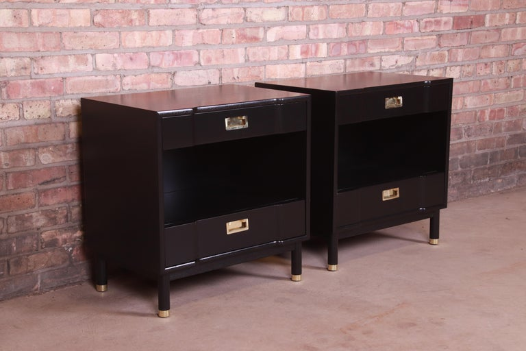 Brass John Widdicomb Mid-Century Modern Black Lacquered Nightstands, Newly Refinished