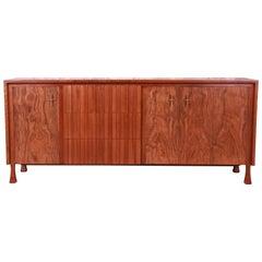 John Widdicomb Mid-Century Modern Burled Walnut Sideboard Credenza, Refinished