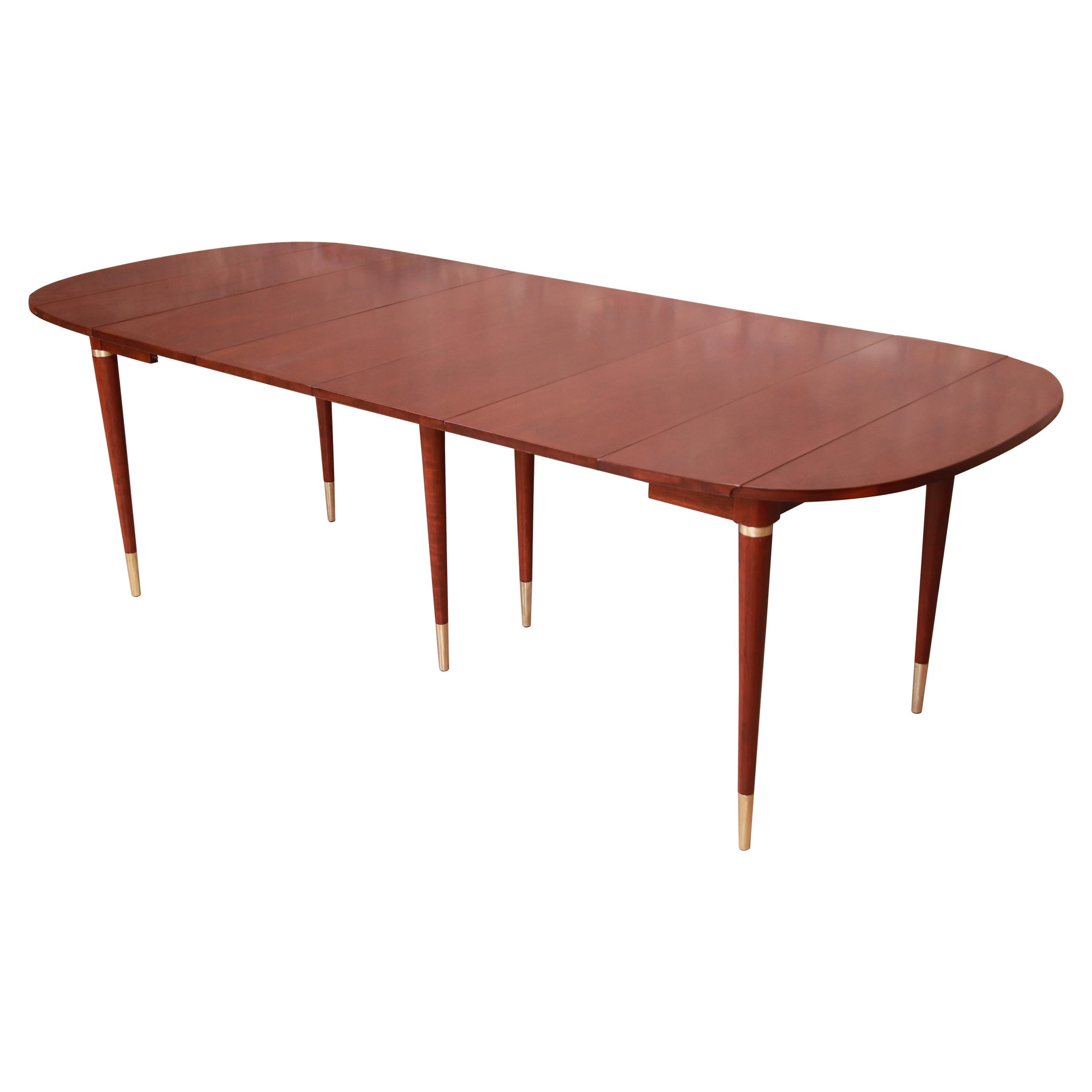 John Widdicomb Mid-Century Modern Cherry Wood Extension Dining Table, Refinished
