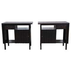 John Widdicomb Mid-Century Modern Ebonized Nightstands, Newly Refinished