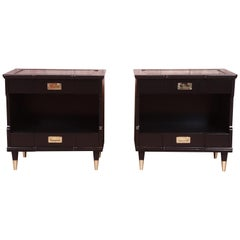 John Widdicomb Mid-Century Modern Hollywood Regency Black Lacquered Nightstands